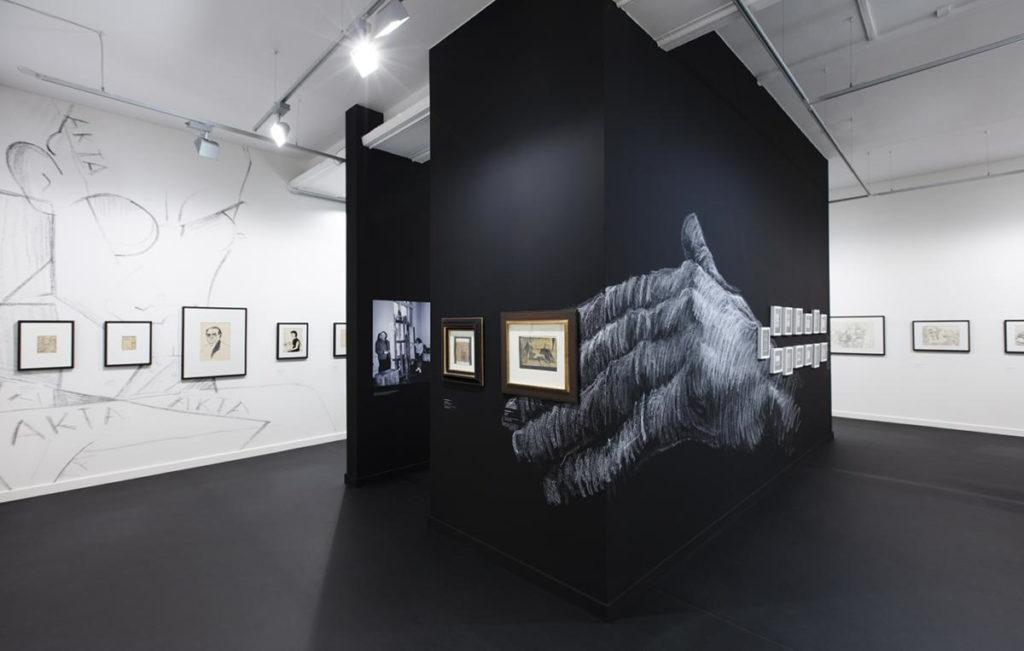 Wnętrze Muzeum Narodowego w Krakowie, wystawa Czarno na białym. 200 lat rysunku na krakowskiej Akademii Sztuk Pięknych.